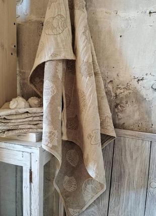 Лляний банний рушник мушля льняное банное полотенце