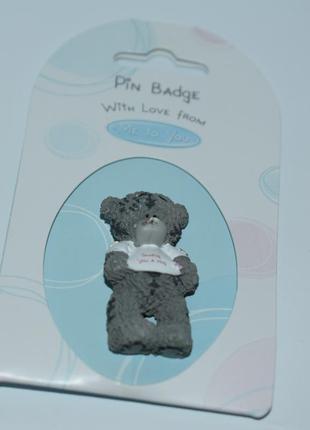 Красивая брошь мишка тедди pin badge with love from me to you carte blanche  винтаж