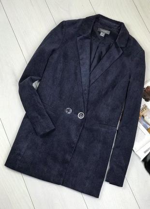Вельветовый двубортный пиджак прямого кроя