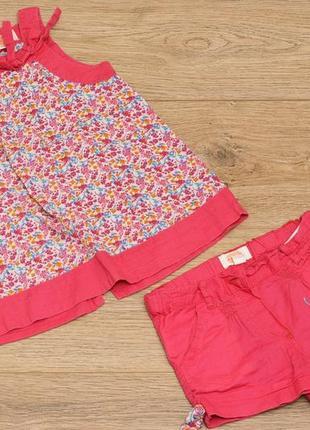 Комплект с красивым принтом foxy для девочки - кофта-туника и шорты - р.92-98
