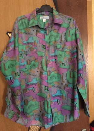 100% шёлк мужская стильная яркая шелковая рубашка