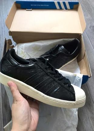 Шикарные натуральные кожаные кроссовки adidas superstar 80s original