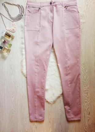 Лиловые цветные розовые плотные джинсы скинни стрейч высокая талия посадка высокий рост