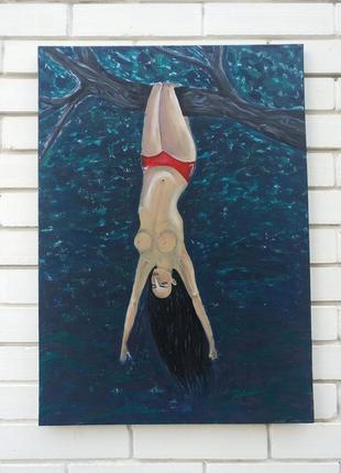 Картина девушка на дереве