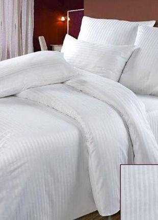 Комплект постільної білизни білий постельного белья полоска евро інесс бязь