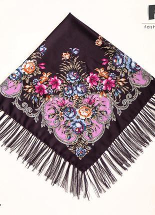 Шерстяной павлопосадский баклажановый платок василиса 1188.7