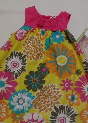 """Горчичное платье - трапеция с цветочным принтом """"bluezoo"""" от """"debenhams"""", 12 -18 месяцев"""