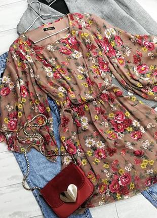 Прекрасное шифоновое платье в цветы в152715 rise размер uk 12/38 (м)