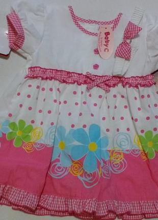 """Новое бело-розовое платье с цветами + повязка """"baby c"""" от """"chambo"""""""