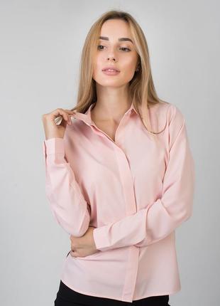 Однотонная блуза женская нежно розовая