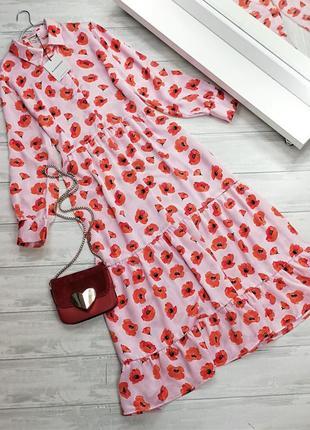 Длинное платье с принтом маки в160609 glamorous размер uk 14/42 (m/l)