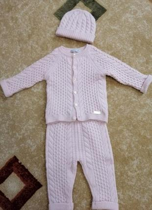 Вязаный комплект monna rosa на девочку 6-9 месяцев5 фото