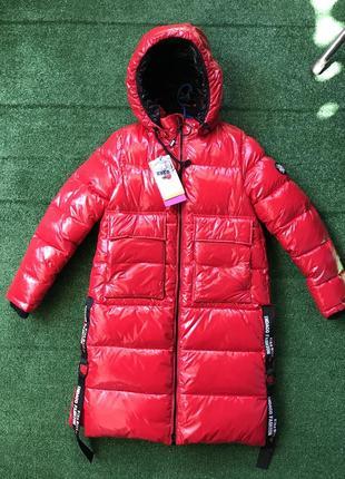 Пальто для девочки kiko в лаке! 5359(м и б) китай. зима 2020