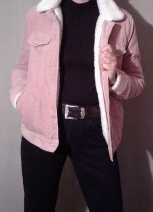 Трендовая вельветовая  куртка denim co, на меху
