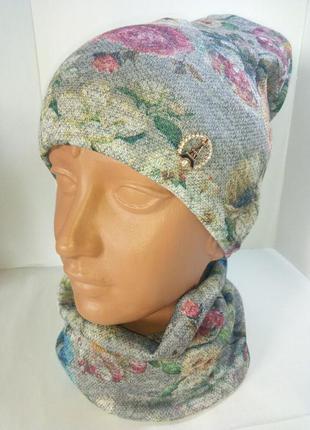 Комплект шапка на флисе и двойной хомут ангора цветы