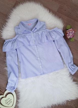 💕 блуза/блузка в полоску/полосу с открытыми плечами с воланами miss vie