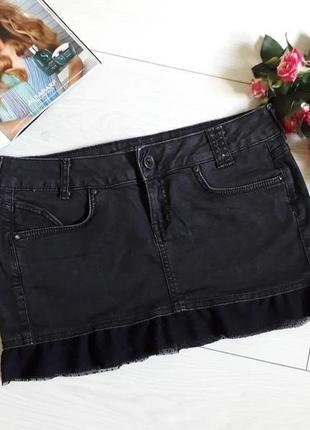 Джинсовая чёрная юбка bershka