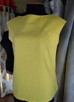 Туніка лляна, блузка з льону, лляна блузка, жовта туніка