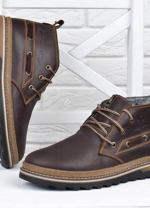Ботинки мужские зимние кожаные montana serious brown натуральный мех