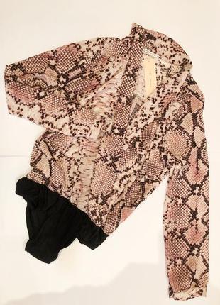 Бодик боди рубашка принт змеи блуза с декольте блузка нарядная