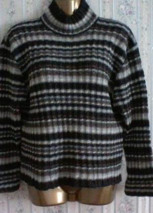 Шерстяной с шелом свитер  с горловиной от marc o polo, разм. 46 -48