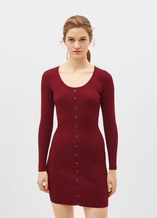 Платье в рубчик длинный рукав марсал бордо с кнопками новые