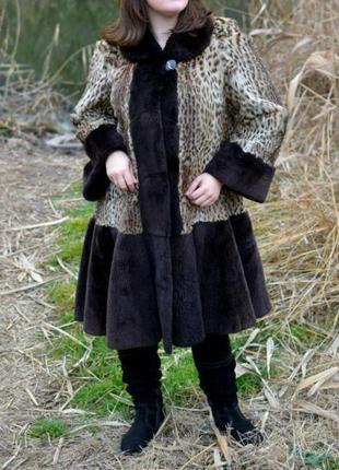 Меховая шуба - бобр, леопард