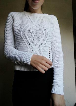 Белый хлопковый свитер кофта укороченый jenifer