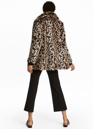 H&m плюшевая шуба леопардовая эко мех