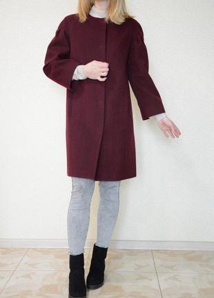 Трендовое пальто бордовое марсала винное демисезонное