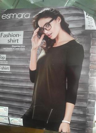 Esmara стильная удлиненная футболка лонгслив реглан кофта 40/42