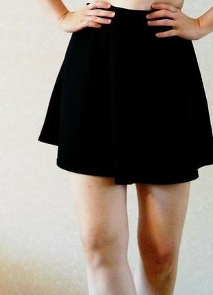 Черная базовая юбка высокая талия