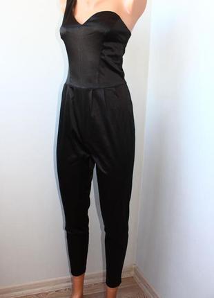 Стильный черный брючный комбинезон-бюстье на миниатюрную модницуxxs-xs, 40-42