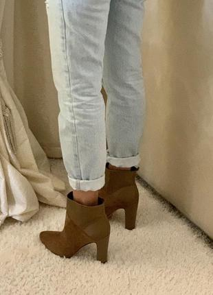 Ботинки на каблуке rachel zoe коричневые песочные осенние кожа оригинал осень деми