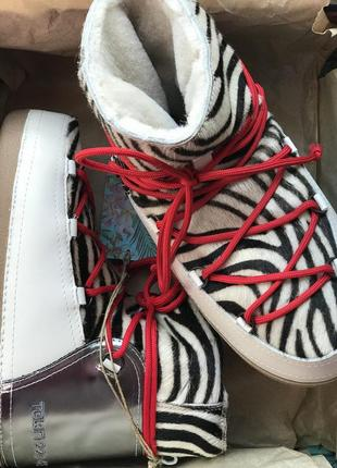 Луноходи черевики уги шкіра шерсть італія