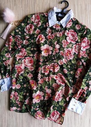Невероятная шифоновая рубашка в цветочный принт