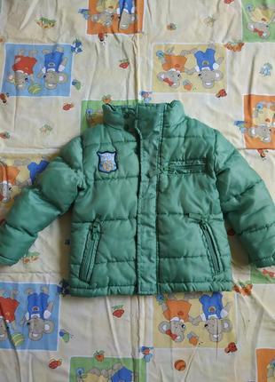 Зеленая курточка  12-18мес, на флисе теплая