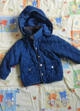 Синия курточка на рост 86см теплая