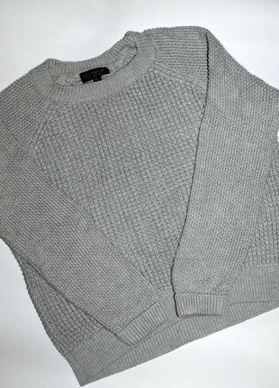 Классный серый вязанный свитер topshop!