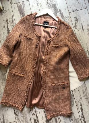 Твидовый длинный пиджак