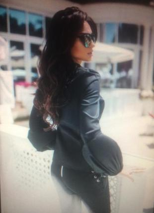 Модная чёрная блузка-рубашка рукав фонарик 🖤