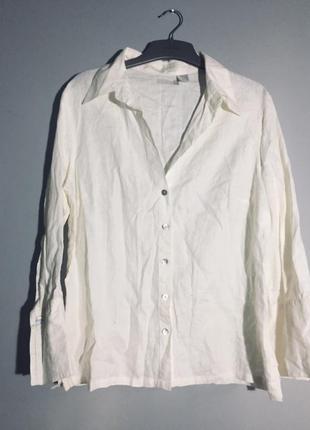Кремовая рубашка с перфорацией из 100% льна