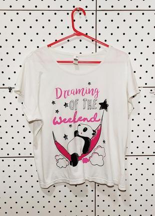 Футболка для дома и сна домашняя одежда пижама белоснежная удобная с пандой панда рр s/m/l