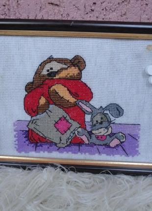 Картина hand made , декор, подарок вышивка крестом медвежонок и заяц.
