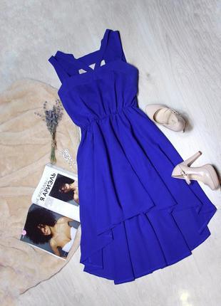 Синее ассиметричное платье boohoo размер s-m
