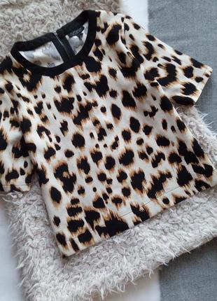 Блуза леопардовая футболка в анималистичный принт