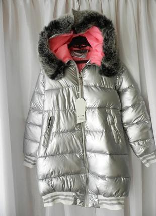 ✅ дутая удлинённая куртка матовое серебро с опушкой на капюшоне эко мех  кролик