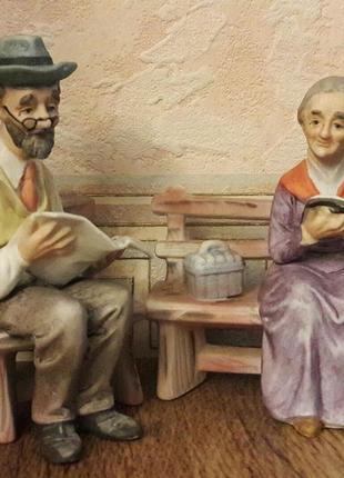Фарфоровые статуэтки, «старичок и старушка». бельгия.