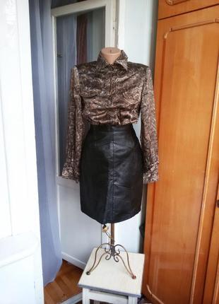 Кожаная юбка высокая посадка испания 100% натуральная кожа