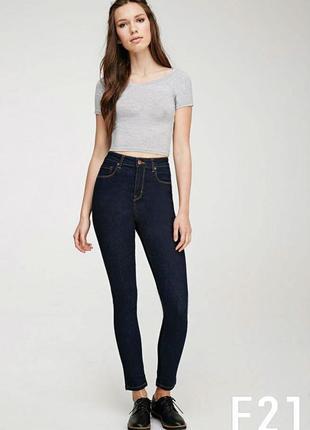 Темные джинсы скинни forever21, р.28